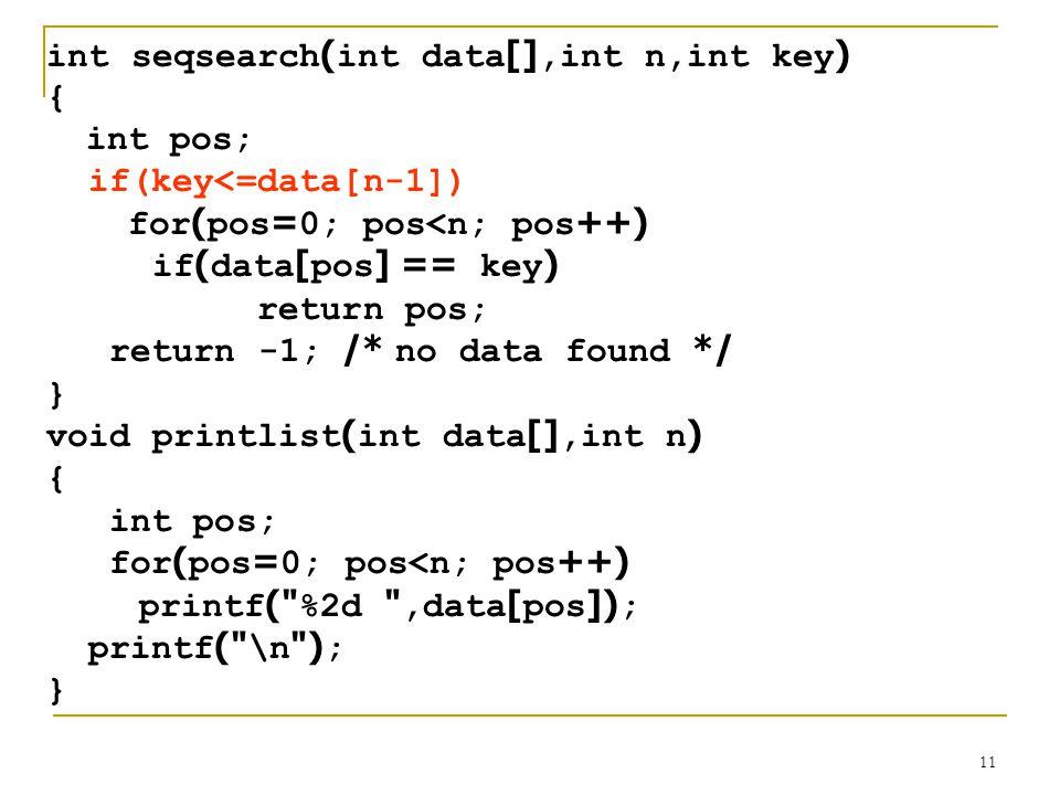 int seqsearch(int data[],int n,int key)